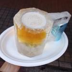 月島草市 氷のビールジョッキが冷たーーい